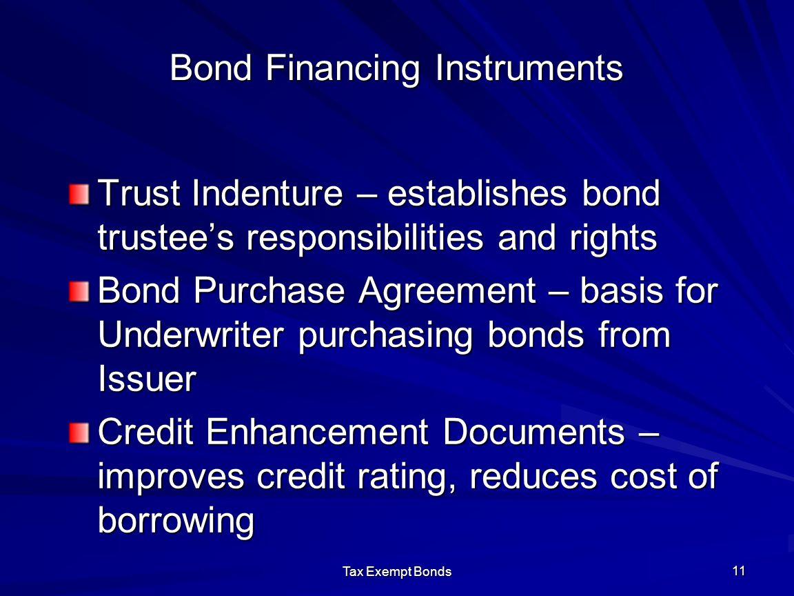 Tax Exempt Bonds 11 Bond Financing Instruments Trust Indenture – establishes bond trustee's responsibilities and rights Bond Purchase Agreement – basi