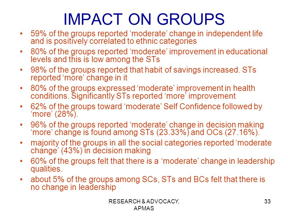 RESEARCH & ADVOCACY, APMAS 33 IMPACT ON GROUPS 59% of the groups reported 'moderate' change in independent life and is positively correlated to ethnic