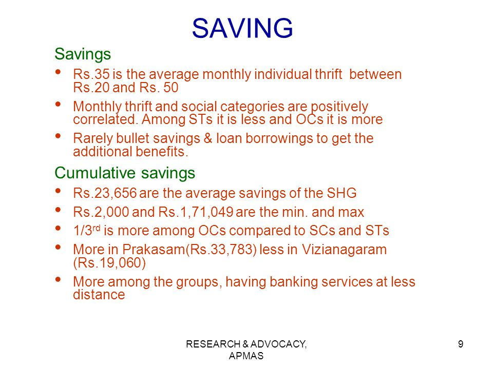RESEARCH & ADVOCACY, APMAS 9 SAVING Savings Rs.35 is the average monthly individual thrift between Rs.20 and Rs. 50 Monthly thrift and social categori