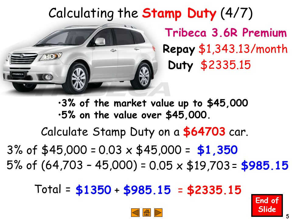 5 Calculating the Stamp Duty (4/7) End of Slide Tribeca 3.6R Premium Repay $1,343.13/month 3% of the market value up to $45,000 5% on the value over $45,000.