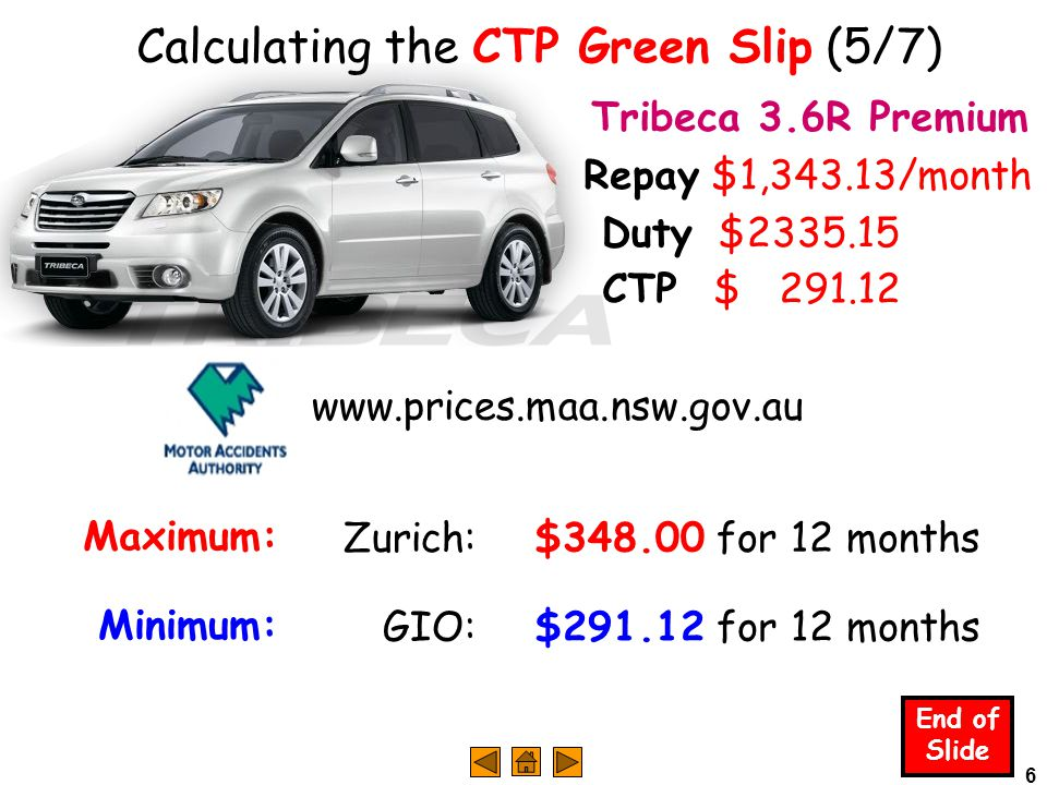 6 Calculating the CTP Green Slip (5/7) End of Slide Tribeca 3.6R Premium Duty $2335.15 www.prices.maa.nsw.gov.au Maximum: Zurich:$348.00 for 12 months Minimum: GIO:$291.12 for 12 months CTP $ 291.12 Repay $1,343.13/month