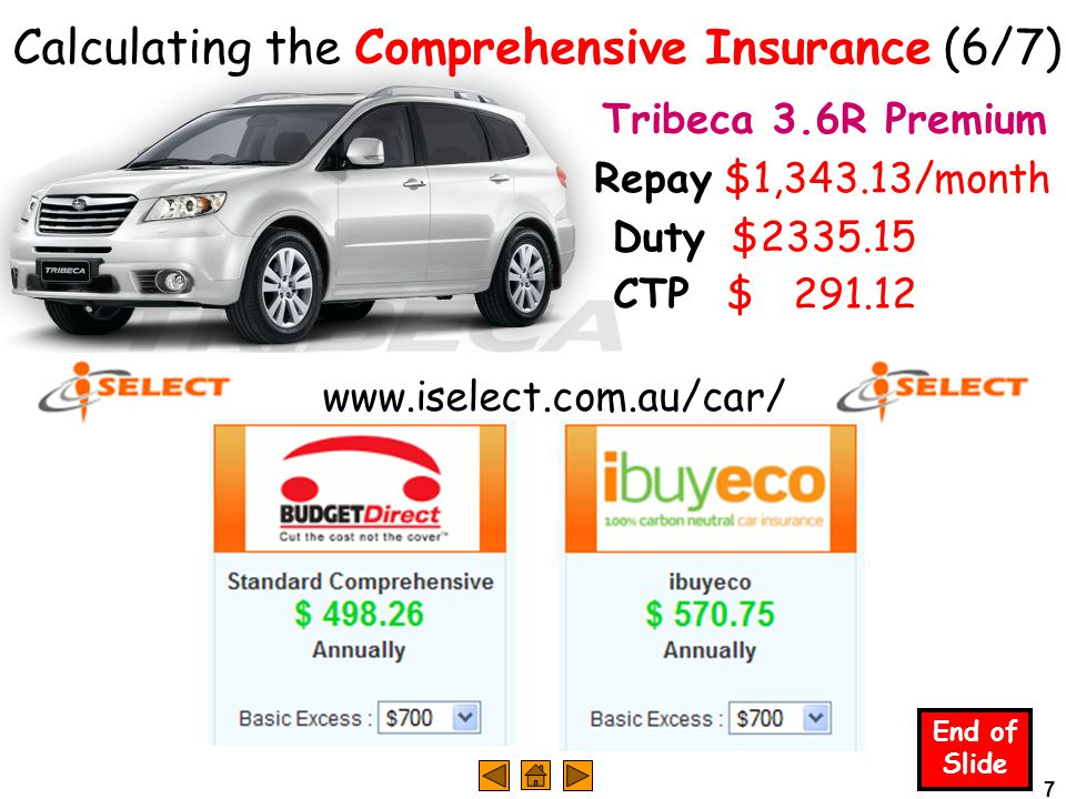 7 End of Slide Tribeca 3.6R Premium Duty $2335.15 CTP $ 291.12 Calculating the Comprehensive Insurance (6/7) www.iselect.com.au/car/ Repay $1,343.13/month