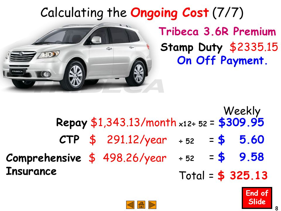 8 End of Slide CTP $ 291.12/year Calculating the Ongoing Cost (7/7) Repay $1,343.13/month Tribeca 3.6R Premium Stamp Duty $2335.15 On Off Payment.
