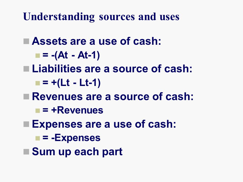 Understanding sources and uses Assets are a use of cash: = -(At - At-1) Liabilities are a source of cash: = +(Lt - Lt-1) Revenues are a source of cash: = +Revenues Expenses are a use of cash: = -Expenses Sum up each part