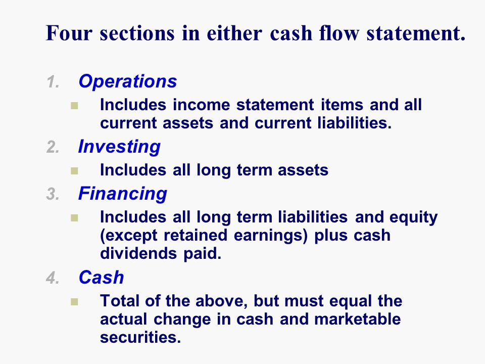 Four sections in either cash flow statement.1.