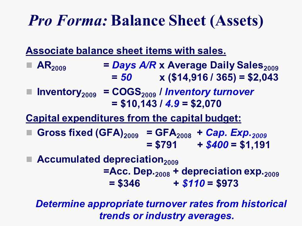 Pro Forma: Balance Sheet (Assets) Associate balance sheet items with sales.