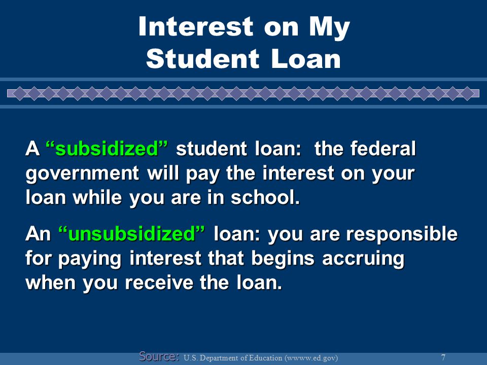 7 Interest on My Student Loan A subsidized student loan: the federal government will pay the interest on your loan while you are in school.