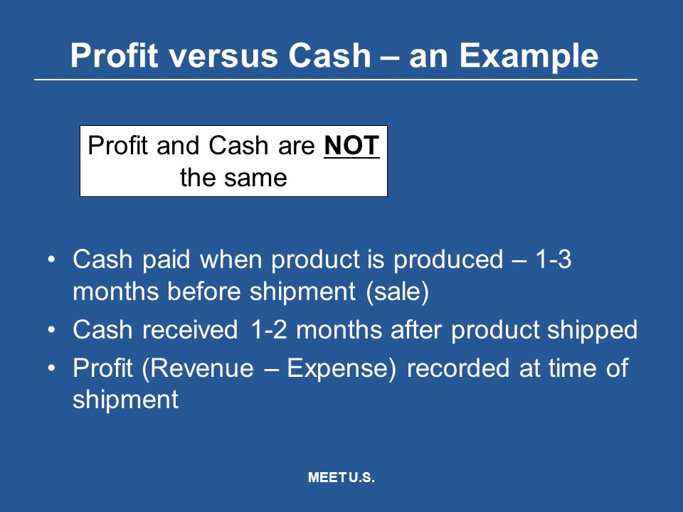 MEET U.S. Profit versus Cash – an Example Cash paid when product is produced – 1-3 months before shipment (sale) Cash received 1-2 months after produc