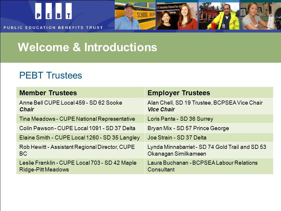 PEBT Trustees Member TrusteesEmployer Trustees Anne Bell CUPE Local 459 - SD 62 Sooke Chair Alan Chell, SD 19 Trustee, BCPSEA Vice Chair Vice Chair Tina Meadows - CUPE National RepresentativeLoris Pante - SD 36 Surrey Colin Pawson - CUPE Local 1091 - SD 37 DeltaBryan Mix - SD 57 Prince George Elaine Smith - CUPE Local 1260 - SD 35 LangleyJoe Strain - SD 37 Delta Rob Hewitt - Assistant Regional Director, CUPE BC Lynda Minnabarriet - SD 74 Gold Trail and SD 53 Okanagan Similkameen Leslie Franklin - CUPE Local 703 - SD 42 Maple Ridge-Pitt Meadows Laura Buchanan - BCPSEA Labour Relations Consultant