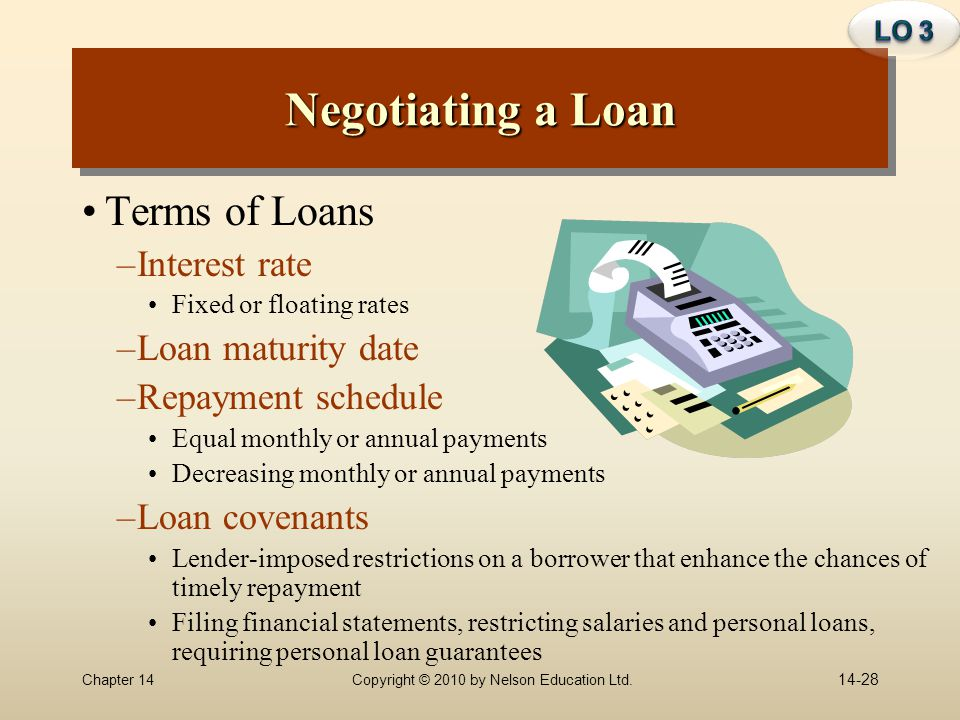 Chapter 14Copyright © 2010 by Nelson Education Ltd. Negotiating a Loan Terms of Loans –Interest rate Fixed or floating rates –Loan maturity date –Repa