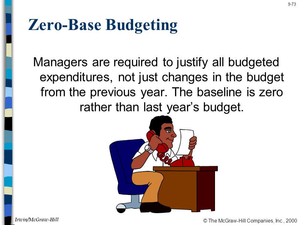 © The McGraw-Hill Companies, Inc., 2000 Irwin/McGraw-Hill 9-73 Zero-Base Budgeting Managers are required to justify all budgeted expenditures, not just changes in the budget from the previous year.