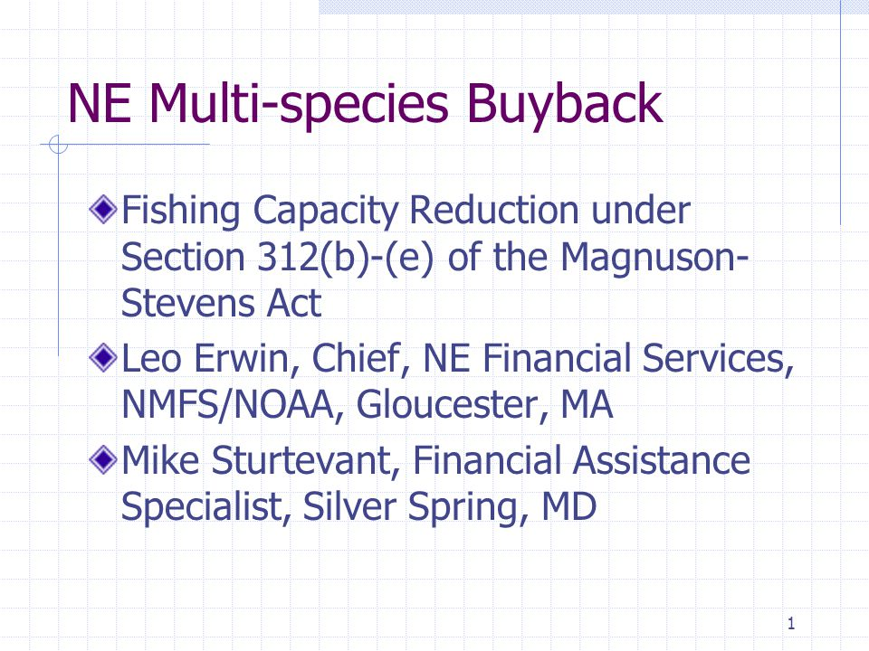 1 NE Multi-species Buyback Fishing Capacity Reduction under Section 312(b)-(e) of the Magnuson- Stevens Act Leo Erwin, Chief, NE Financial Services, NMFS/NOAA, Gloucester, MA Mike Sturtevant, Financial Assistance Specialist, Silver Spring, MD