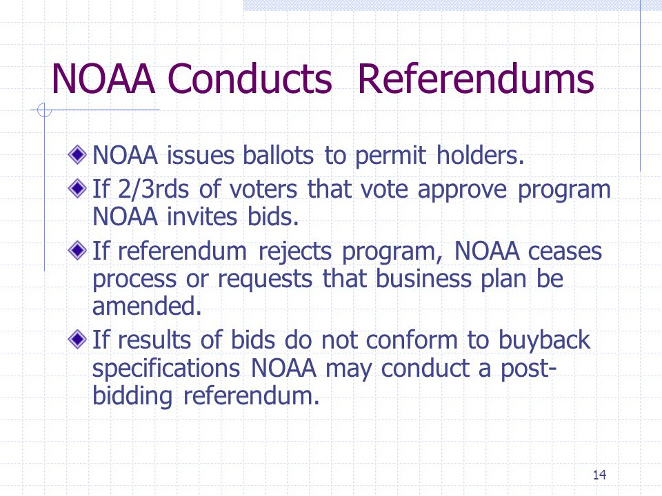 14 NOAA Conducts Referendums NOAA issues ballots to permit holders. If 2/3rds of voters that vote approve program NOAA invites bids. If referendum rej