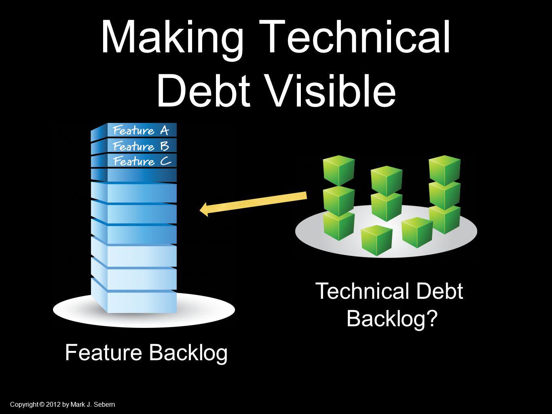Copyright © 2012 by Mark J. Sebern Making Technical Debt Visible Technical Debt Backlog.