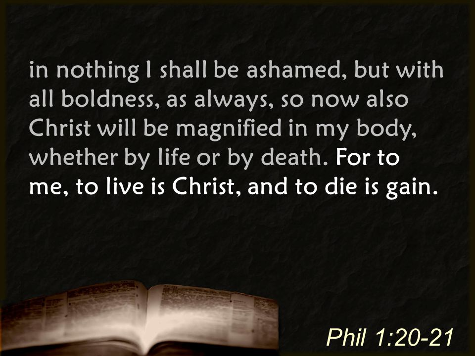 in nothing I shall be ashamed, but with all boldness, as always, so now also Christ will be magnified in my body, whether by life or by death. For to