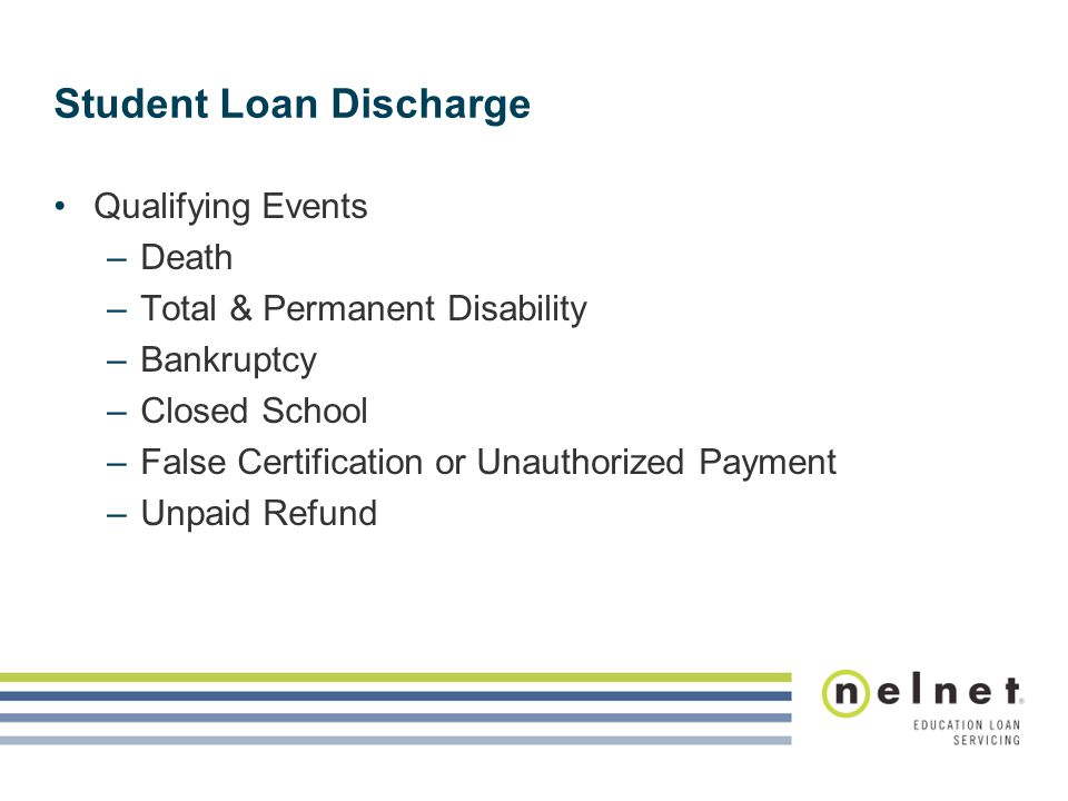 Student Loan Discharge Qualifying Events –Death –Total & Permanent Disability –Bankruptcy –Closed School –False Certification or Unauthorized Payment –Unpaid Refund