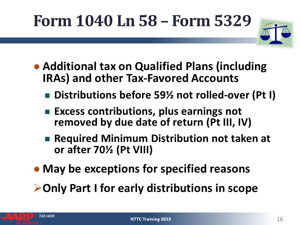 TAX-AIDE Form 1040 Ln 58 – Form 5329 ● Additional tax on Qualified Plans (including IRAs) and other Tax-Favored Accounts Distributions before 59½ not