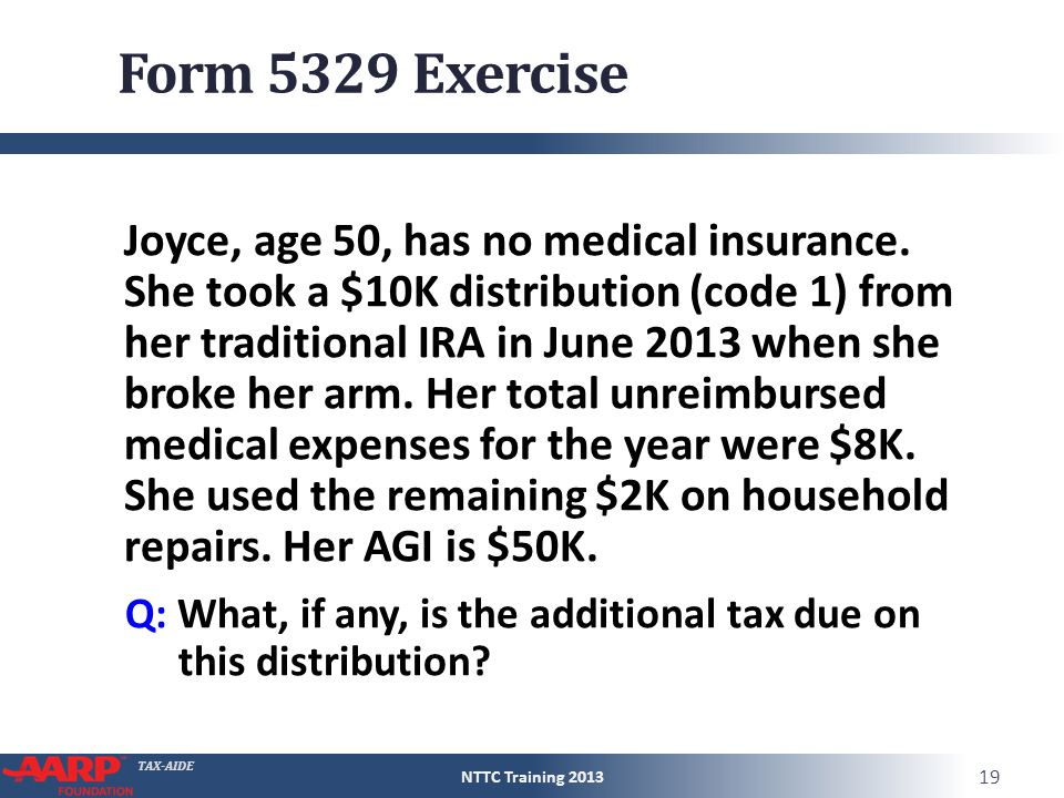 TAX-AIDE Form 5329 Exercise Joyce, age 50, has no medical insurance. She took a $10K distribution (code 1) from her traditional IRA in June 2013 when