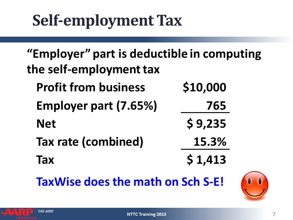 "TAX-AIDE Self-employment Tax ""Employer"" part is deductible in computing the self-employment tax Profit from business$10,000 Employer part (7.65%) 765"