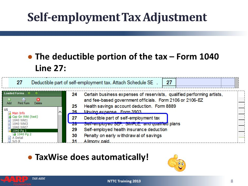 TAX-AIDE Self-employment Tax Adjustment ● The deductible portion of the tax – Form 1040 Line 27: ● TaxWise does automatically! NTTC Training 2013 8