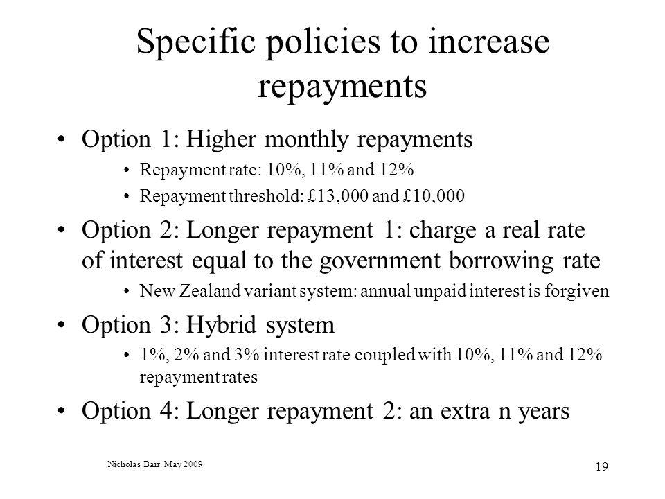 Nicholas Barr May 2009 19 Specific policies to increase repayments Option 1: Higher monthly repayments Repayment rate: 10%, 11% and 12% Repayment threshold: £13,000 and £10,000 Option 2: Longer repayment 1: charge a real rate of interest equal to the government borrowing rate New Zealand variant system: annual unpaid interest is forgiven Option 3: Hybrid system 1%, 2% and 3% interest rate coupled with 10%, 11% and 12% repayment rates Option 4: Longer repayment 2: an extra n years