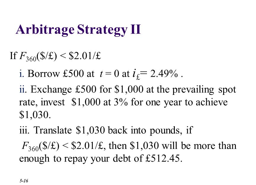 Arbitrage II $1,000 £500 $1,000 = £500× £1 $2.00 In one year $1,000 will be worth $1,030 >£512.45 × £1 F £ (360) Step 4: repatriate to the U.K.