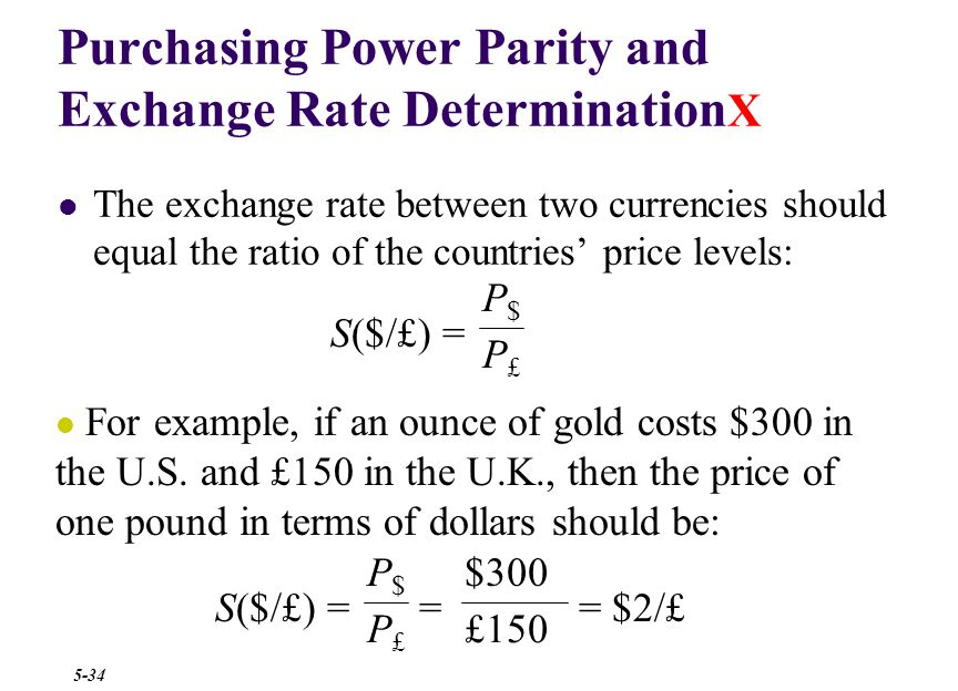Purchasing Power Parity and Exchange Rate Determination X Suppose the spot exchange rate is $1.25 = €1.00 If the inflation rate in the U.S.