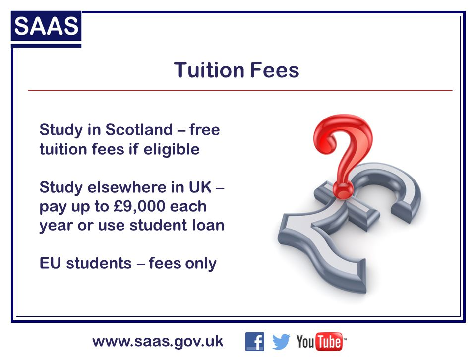 www.saas.gov.uk Tuition Fees Study in Scotland – free tuition fees if eligible Study elsewhere in UK – pay up to £9,000 each year or use student loan EU students – fees only