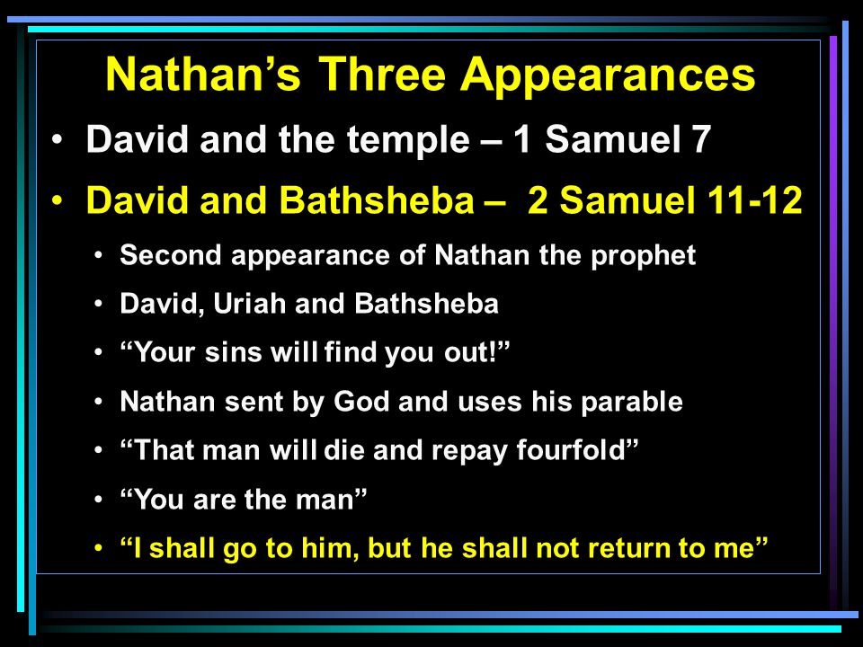 Nathan's Three Appearances David and the temple – 1 Samuel 7 David and Bathsheba – 2 Samuel 11-12 Second appearance of Nathan the prophet David, Uriah and Bathsheba Your sins will find you out! Nathan sent by God and uses his parable That man will die and repay fourfold You are the man I shall go to him, but he shall not return to me