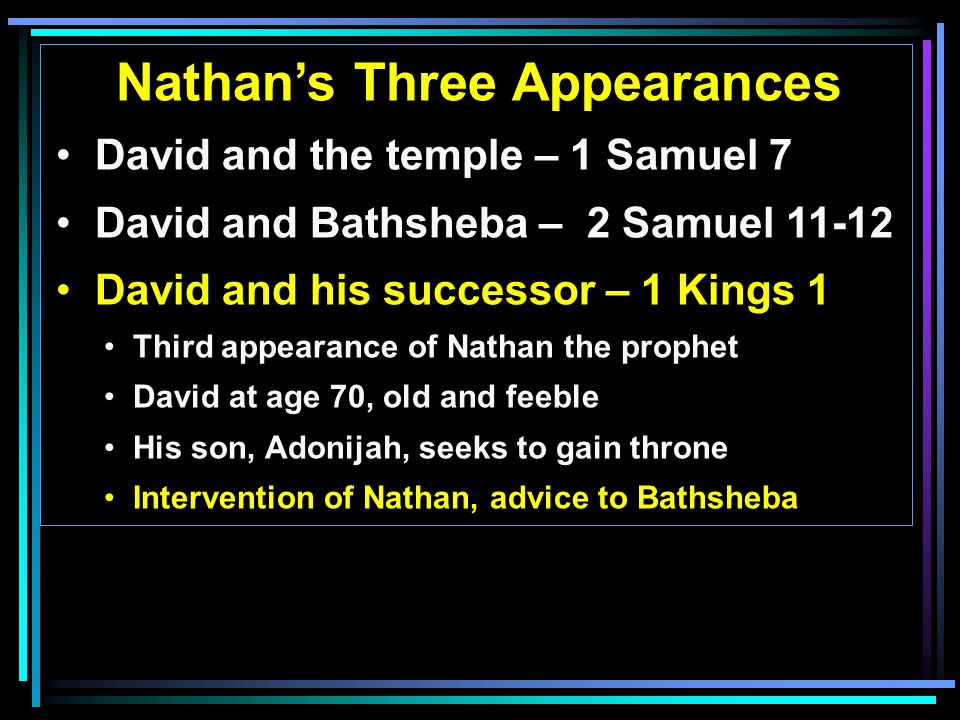Nathan's Three Appearances David and the temple – 1 Samuel 7 David and Bathsheba – 2 Samuel 11-12 David and his successor – 1 Kings 1 Third appearance of Nathan the prophet David at age 70, old and feeble His son, Adonijah, seeks to gain throne Intervention of Nathan, advice to Bathsheba