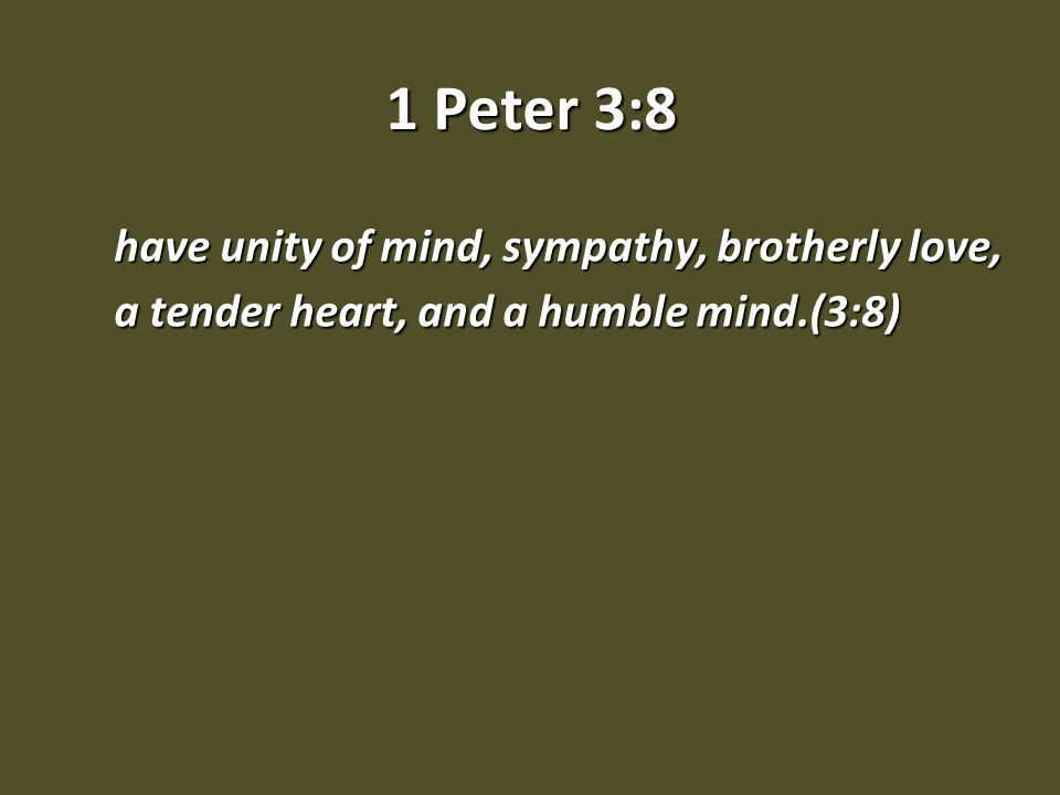 Five high goals of the Christian life: SympathySympathy have unity of mind, sympathy, brotherly love, a tender heart, and a humble mind.(3:8) To live in sympathy toward with Christians, means we are to suffer with our fellow Christians.To live in sympathy toward with Christians, means we are to suffer with our fellow Christians.