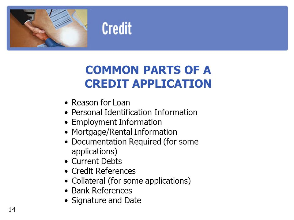 COMMON PARTS OF A CREDIT APPLICATION Reason for Loan Personal Identification Information Employment Information Mortgage/Rental Information Documentat