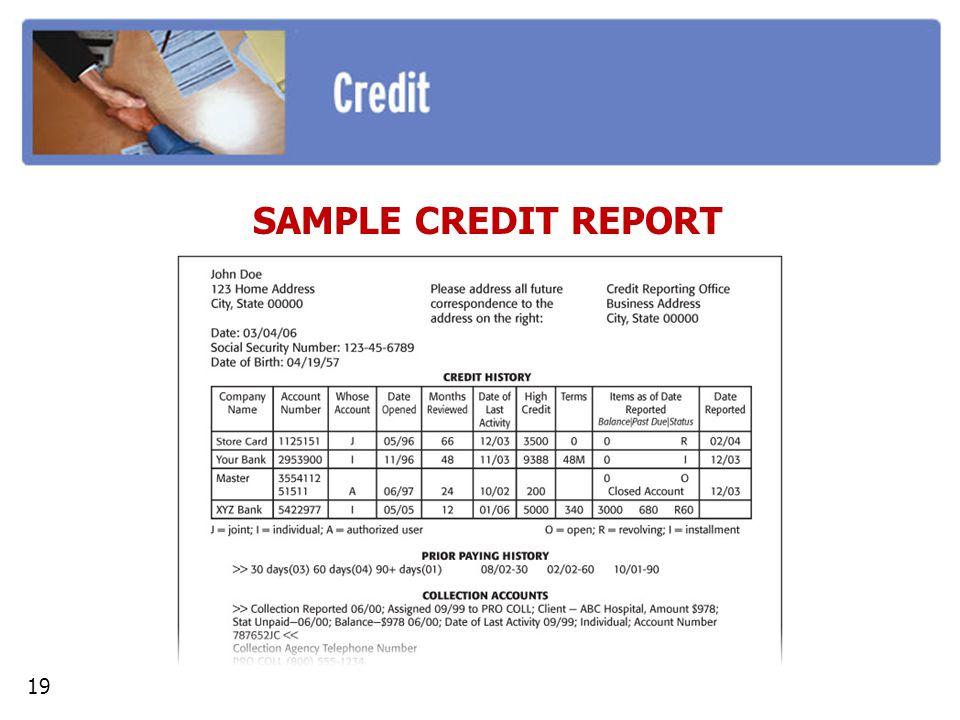 SAMPLE CREDIT REPORT 19