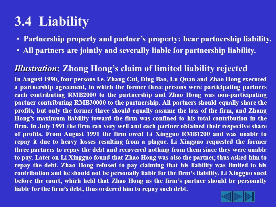 3.4 Liability Illustration Illustration: Zhong Hong's claim of limited liability rejected In August 1990, four persons i.e.