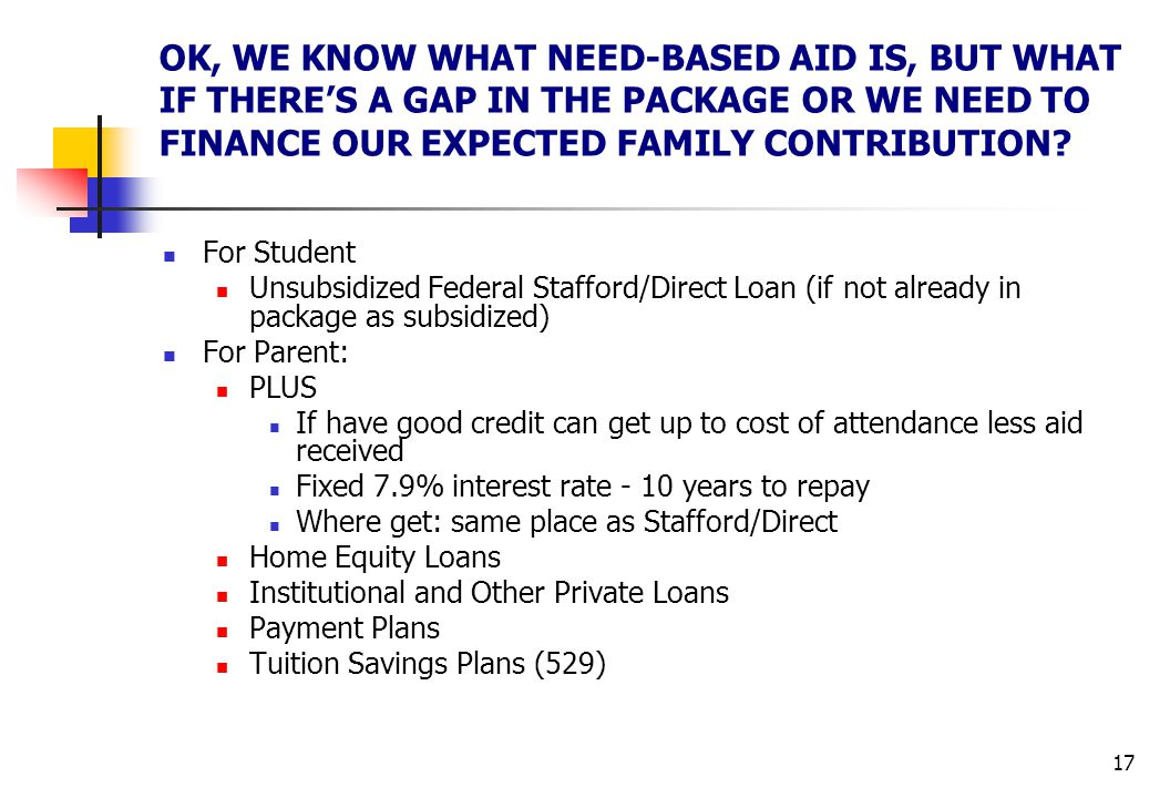17 OK, WE KNOW WHAT NEED-BASED AID IS, BUT WHAT IF THERE'S A GAP IN THE PACKAGE OR WE NEED TO FINANCE OUR EXPECTED FAMILY CONTRIBUTION? For Student Un