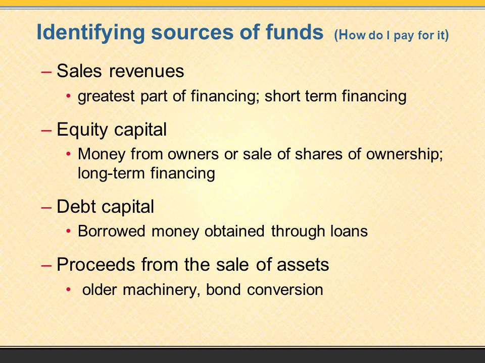 Identifying sources of funds (H ow do I pay for it ) –Sales revenues greatest part of financing; short term financing –Equity capital Money from owners or sale of shares of ownership; long-term financing –Debt capital Borrowed money obtained through loans –Proceeds from the sale of assets older machinery, bond conversion