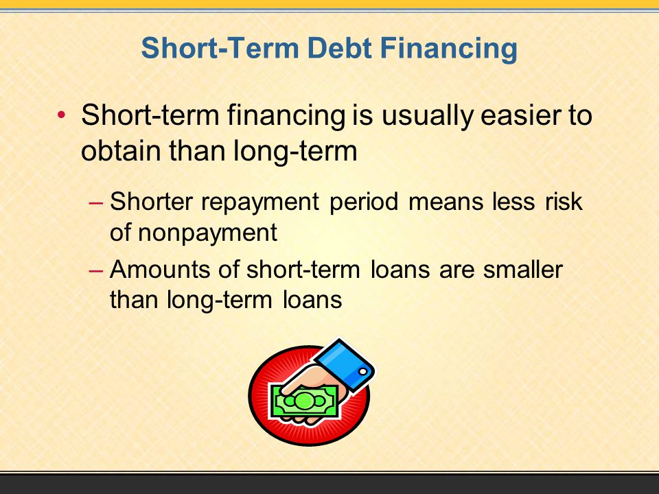 Short-Term Debt Financing Short-term financing is usually easier to obtain than long-term –Shorter repayment period means less risk of nonpayment –Amounts of short-term loans are smaller than long-term loans