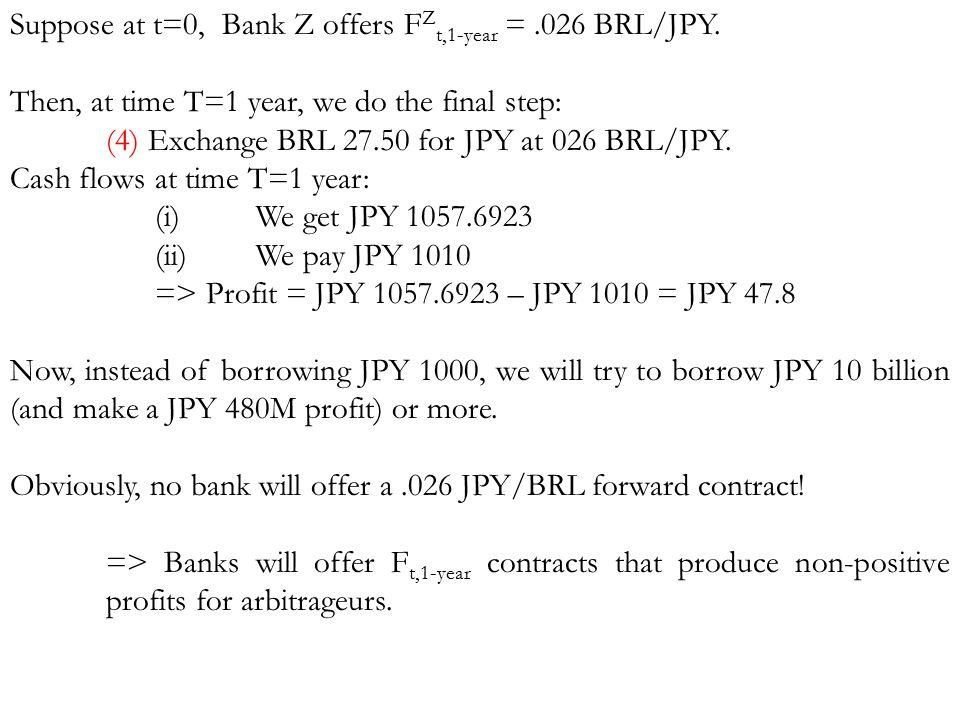 Suppose at t=0, Bank Z offers F Z t,1-year =.026 BRL/JPY. Then, at time T=1 year, we do the final step: (4) Exchange BRL 27.50 for JPY at 026 BRL/JPY.