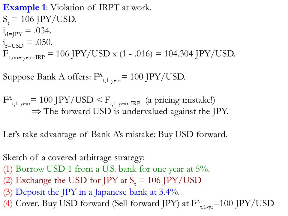 Example 1: Violation of IRPT at work. S t = 106 JPY/USD.