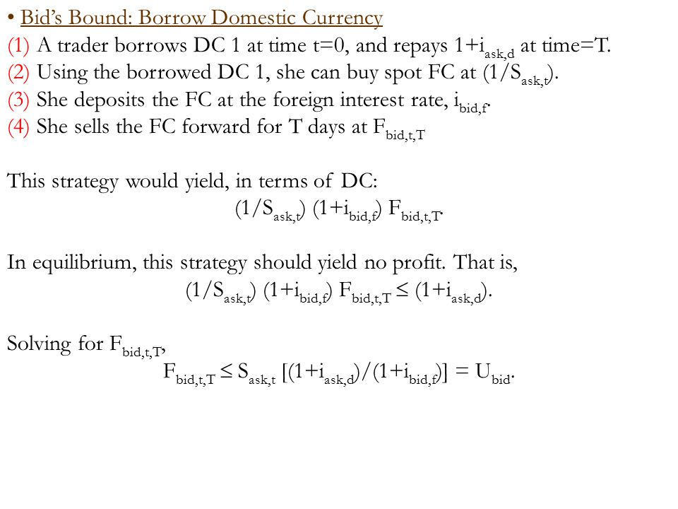 Bid's Bound: Borrow Domestic Currency (1) A trader borrows DC 1 at time t=0, and repays 1+i ask,d at time=T.