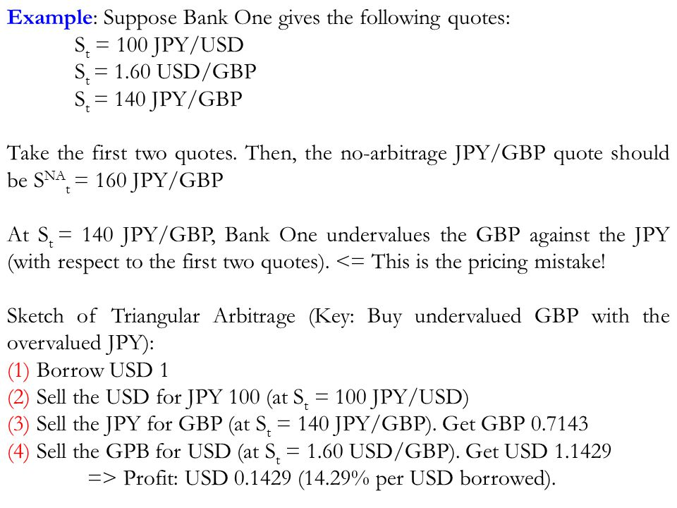 Example: Suppose Bank One gives the following quotes: S t = 100 JPY/USD S t = 1.60 USD/GBP S t = 140 JPY/GBP Take the first two quotes.