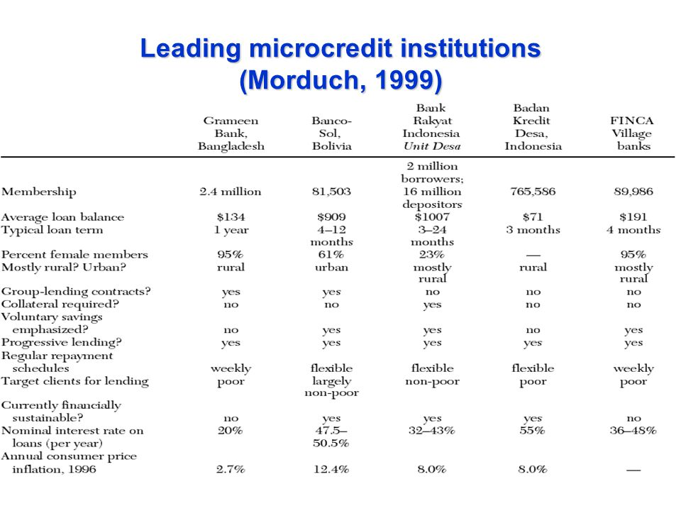 Leading microcredit institutions (Morduch, 1999)