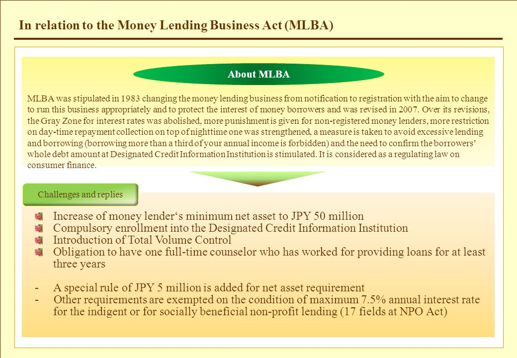 In relation to the Money Lending Business Act (MLBA) About MLBA MLBA was stipulated in 1983 changing the money lending business from notification to r