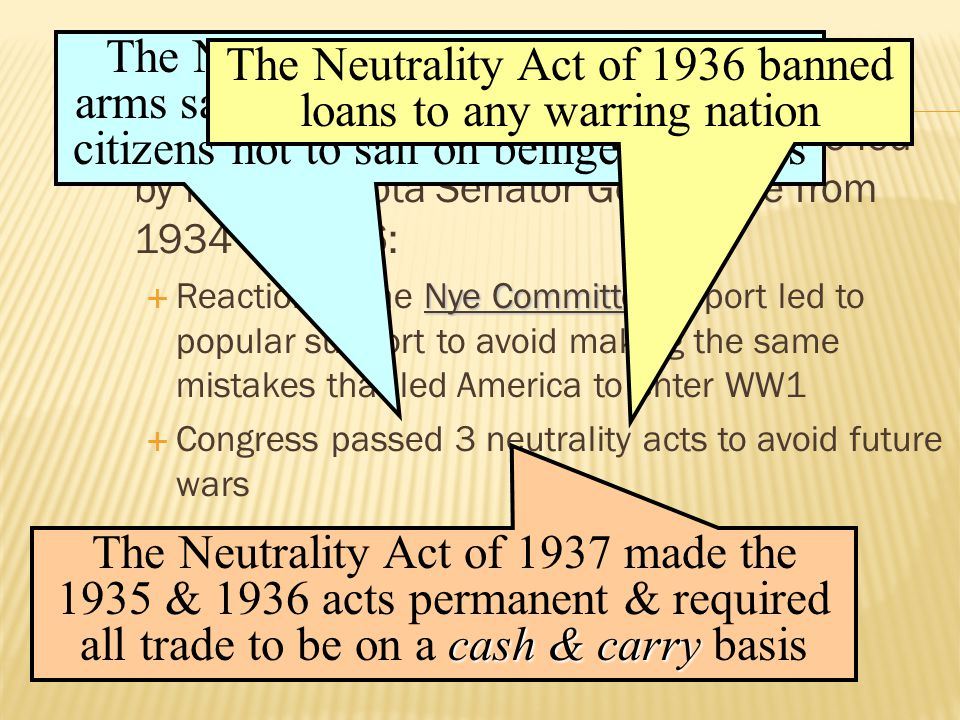  The merchants of death charges were led by North Dakota Senator Gerald Nye from 1934 to 1936: Nye Committee  Reaction to the Nye Committee report led to popular support to avoid making the same mistakes that led America to enter WW1  Congress passed 3 neutrality acts to avoid future wars The Neutrality Act of 1935 banned arms sales to nations at war & warned citizens not to sail on belligerent ships The Neutrality Act of 1936 banned loans to any warring nation cash & carry The Neutrality Act of 1937 made the 1935 & 1936 acts permanent & required all trade to be on a cash & carry basis