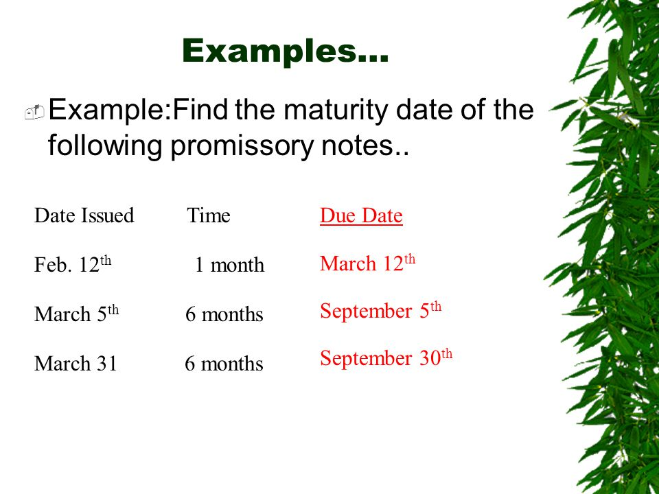 Examples…  Example:Find the maturity date of the following promissory notes..