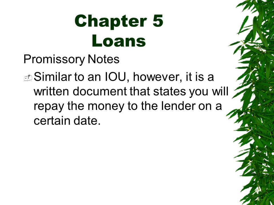 Chapter 5 Loans Promissory Notes  Similar to an IOU, however, it is a written document that states you will repay the money to the lender on a certain date.