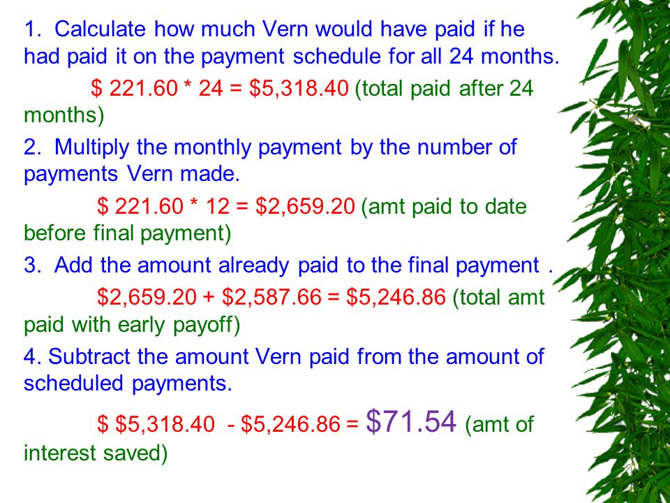 1. Calculate how much Vern would have paid if he had paid it on the payment schedule for all 24 months. $ 221.60 * 24 = $5,318.40 (total paid after 24