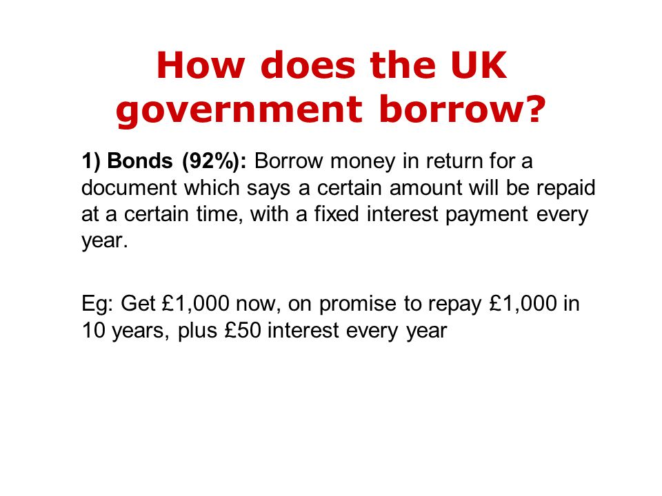 1) Bonds (92%): Borrow money in return for a document which says a certain amount will be repaid at a certain time, with a fixed interest payment every year.
