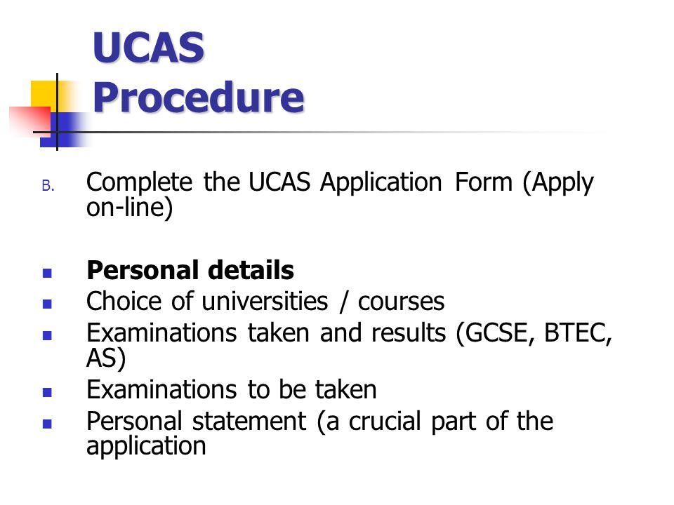 UCAS Procedure B.