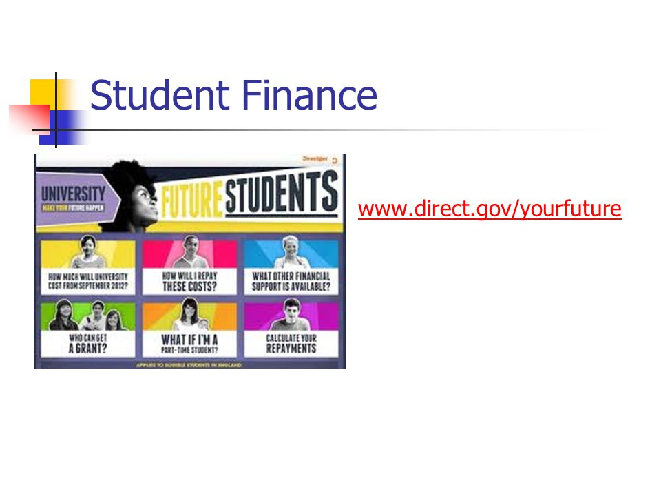 Student Finance www.direct.gov/yourfuture